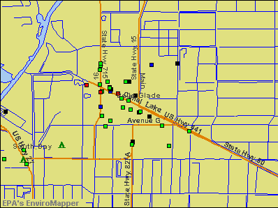 Belle Glade, Florida environmental map by EPA