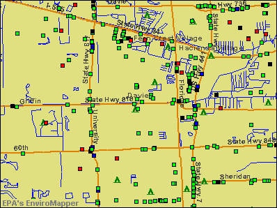 Davie, Florida environmental map by EPA