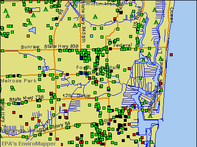 Fort Lauderdale, Florida environmental map by EPA