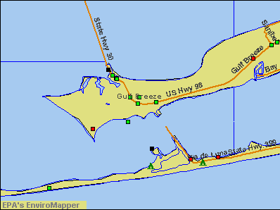 Gulf Breeze, Florida environmental map by EPA