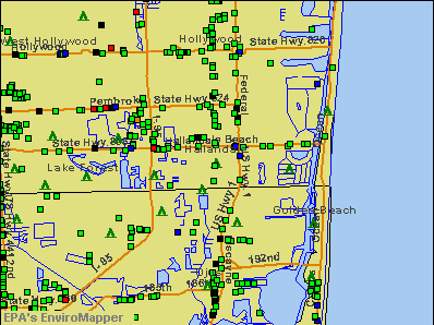 Hallandale, Florida environmental map by EPA