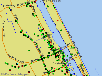 Holly Hill, Florida environmental map by EPA