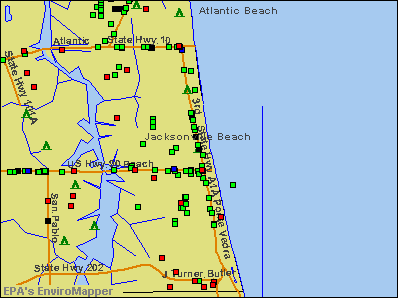 Jacksonville Beach, Florida environmental map by EPA