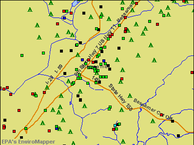 Bessemer, Alabama environmental map by EPA
