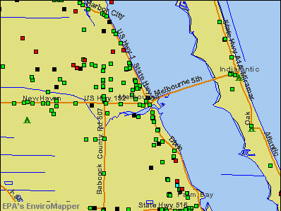 Melbourne, Florida environmental map by EPA