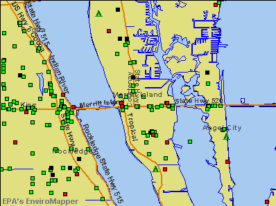 Merritt Island, Florida environmental map by EPA