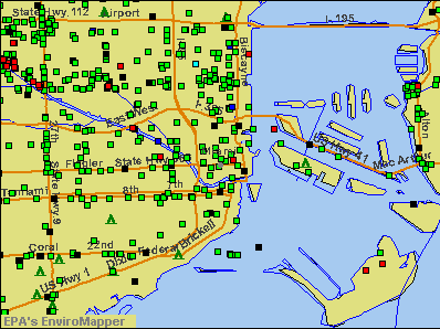Miami, Florida environmental map by EPA