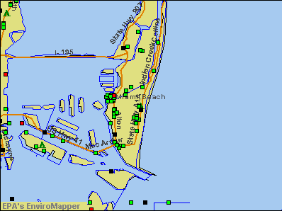 Miami Beach, Florida environmental map by EPA