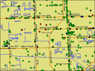 Miramar, Florida environmental map by EPA