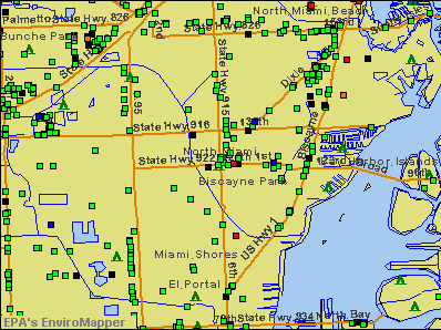 North Miami, Florida environmental map by EPA