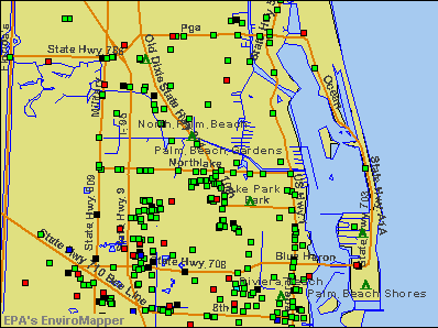 Palm Beach Gardens, Florida environmental map by EPA