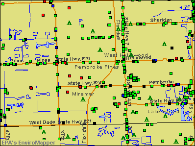 Pembroke Pines, Florida environmental map by EPA