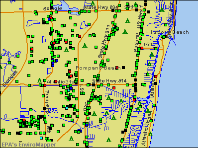 Pompano Beach, Florida environmental map by EPA