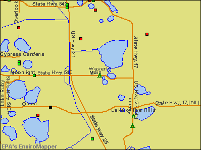Waverly, Florida environmental map by EPA