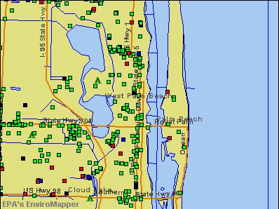 West Palm Beach, Florida environmental map by EPA