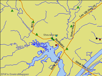 Stevenson, Alabama environmental map by EPA