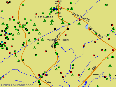 Vestavia Hills, Alabama environmental map by EPA