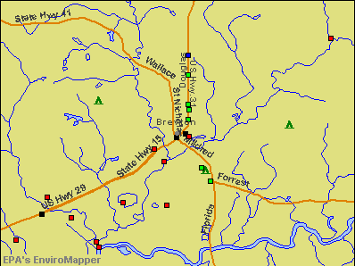 Brewton, Alabama environmental map by EPA