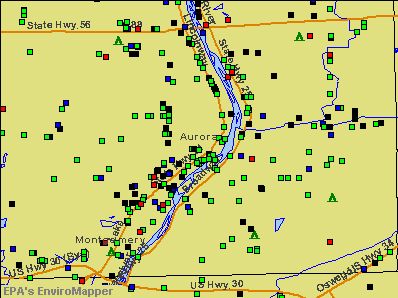 Aurora, Illinois environmental map by EPA