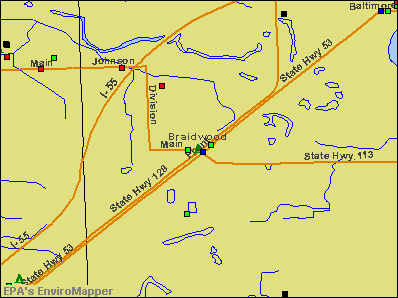 Braidwood, Illinois environmental map by EPA