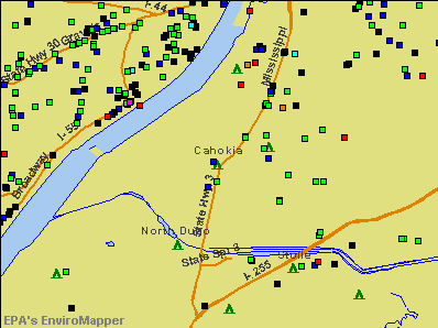 Cahokia, Illinois environmental map by EPA