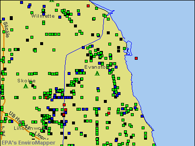 Evanston, Illinois environmental map by EPA