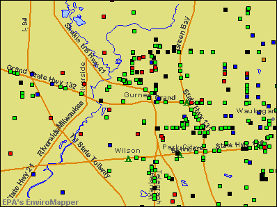 Gurnee, Illinois environmental map by EPA
