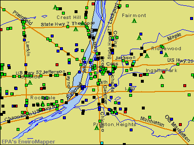 Joliet, Illinois environmental map by EPA