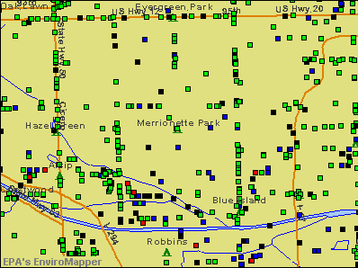 Merrionette Park, Illinois environmental map by EPA