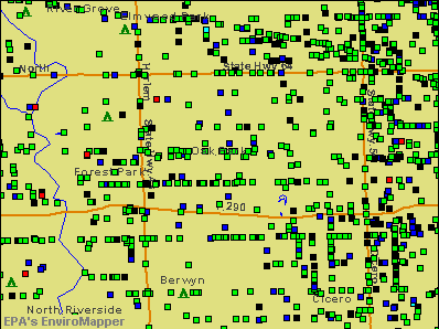 Oak Park, Illinois environmental map by EPA