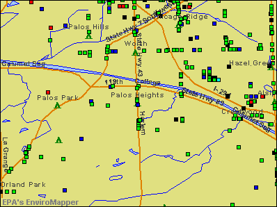 Palos Heights, Illinois environmental map by EPA