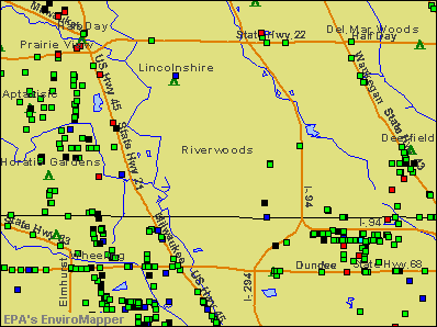 Riverwoods, Illinois environmental map by EPA