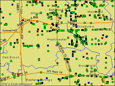 Westchester, Illinois environmental map by EPA