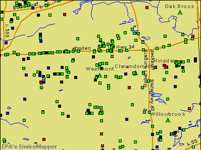 Westmont, Illinois environmental map by EPA