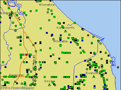 Wilmette, Illinois environmental map by EPA