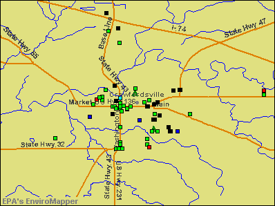 Crawfordsville, Indiana environmental map by EPA
