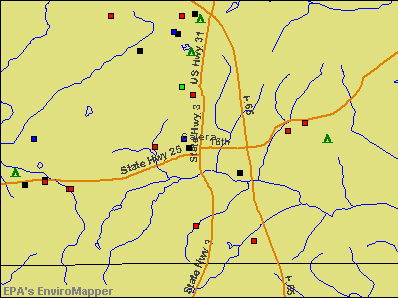 Calera, Alabama environmental map by EPA