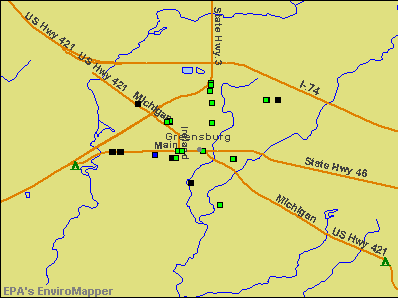 Greensburg, Indiana environmental map by EPA