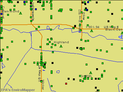 Highland, Indiana environmental map by EPA