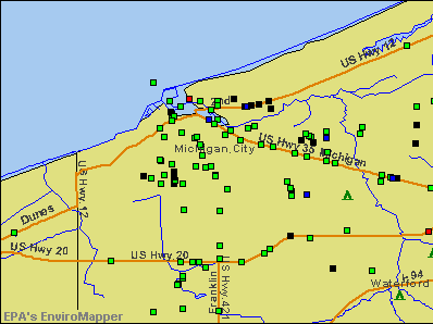 Michigan City, Indiana environmental map by EPA