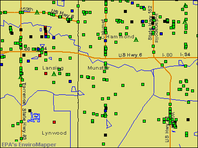 Munster, Indiana environmental map by EPA