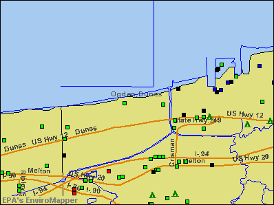 Ogden Dunes, Indiana environmental map by EPA