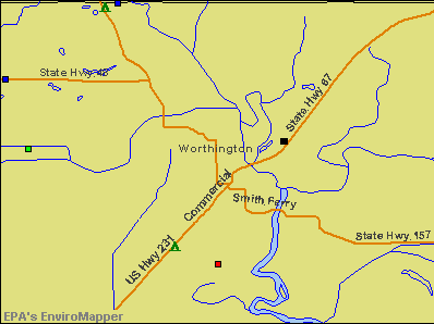 Worthington, Indiana environmental map by EPA