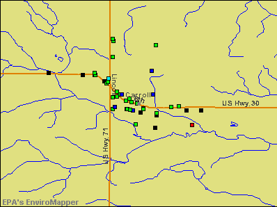 Carroll, Iowa environmental map by EPA