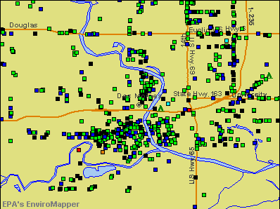Des Moines, Iowa environmental map by EPA