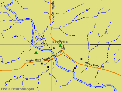 Eddyville, Iowa environmental map by EPA