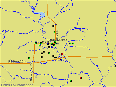 Manchester, Iowa environmental map by EPA
