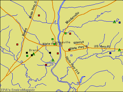 Centreville, Alabama environmental map by EPA