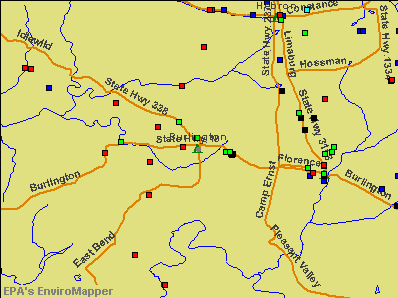 Burlington, Kentucky environmental map by EPA