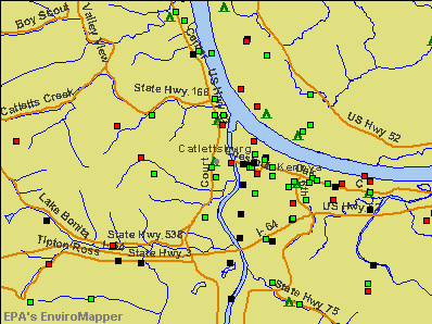 Catlettsburg, Kentucky environmental map by EPA